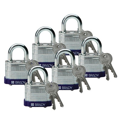 "Brady 104917 - Brady Standard-Size Steel Padlocks - 5-Pin Cylinder - 0.75"" Shackle Clearance - Keyed Different - 6/Pack"