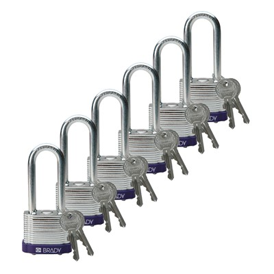 "Brady 104918 - Brady Standard-Size Steel Padlocks - 5-Pin Cylinder - 2"" Shackle Clearance - Keyed Different - 6/Pack"