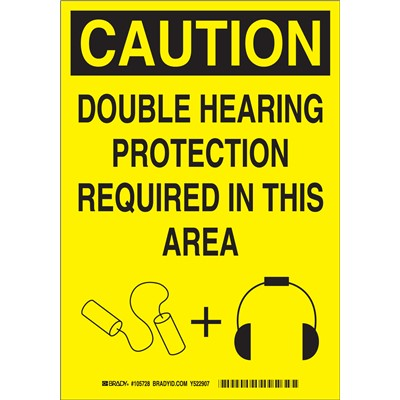 "Brady 105734 - CAUTION Double Hearing Protection Required In This Area Sign - 14"" H x 10"" W x 0.035"" D - Aluminum"