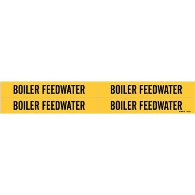"Brady 105737 - Self-Adhesive Pipe Marker: BOILER FEED WATER - 1.125"" H x 7"" W - Card of 4 Each - Fits Pipes 0.75"" Dia. Thru 2.375"" Dia."