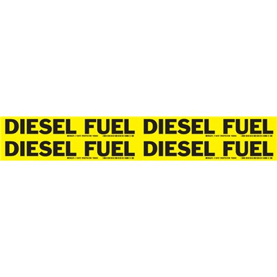 "Brady 105757 - DIESEL FUEL - Pipe Markers for Oils - 1.125"" H x 7"" W - Black on Yellow"