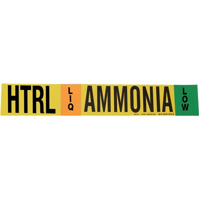 "Brady 105783 - AMMONIA-HTRL-LIQ-LOW Pipe Marker - 4"" H x 24"" W - Black/Green/Orange on Yellow"