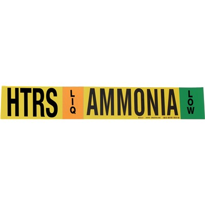 "Brady 105787 - AMMONIA-HTRS-LIQ/VAP-LOW Pipe Marker - 4"" H x 24"" W - Black/Blue/Green/Orange on Yellow"