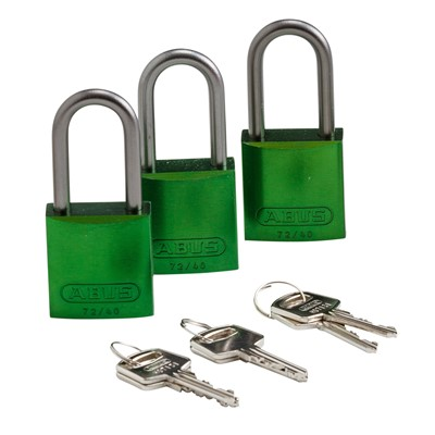Brady 105881 - ABUS Standard Size Aluminum Padlocks - 6-Pin Cylinder - 1.5 in. Shackle Clearance - Keyed Alike - 3/Pack