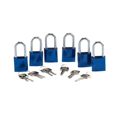 Brady 105883 - ABUS Standard Size Aluminum Padlocks - 6-Pin Cylinder - 1.5 in. Shackle Clearance - Keyed Alike - 6/Pack