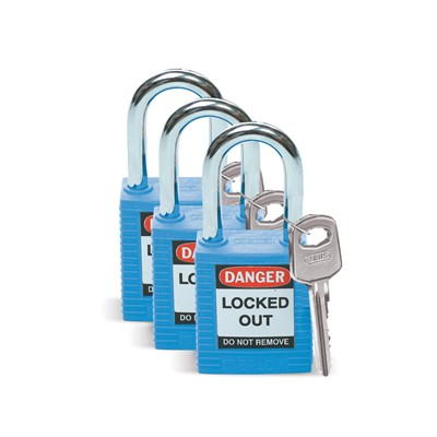 Brady 105887 - Brady Nonconductive Nylon Padlocks - 6-Pin Cylinder - 1.5 in. Shackle Clearance - Keyed Alike - 3/Pack