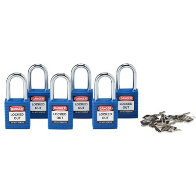 "Brady 105891 - Keyed Alike Safety Padlocks - 1.75"" H x 1.5"" W x 0.8"" D - Blue - 6/Pack"