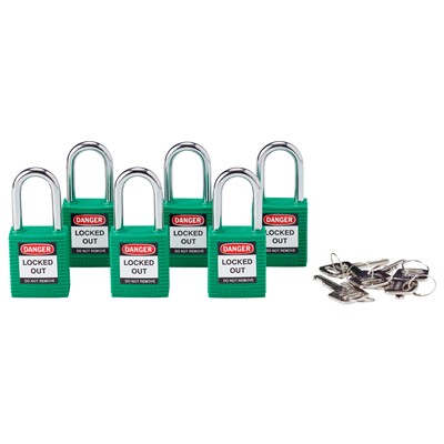 Brady 105893 - Brady Nonconductive Nylon Padlocks - 6-Pin Cylinder - 1.5 in. Shackle Clearance - Keyed Alike - 6/Pack