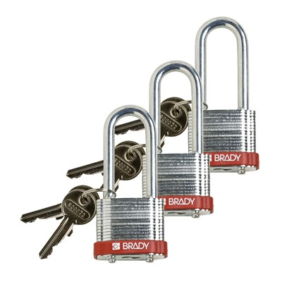 "Brady 105894 - Brady Standard-Size Steel Padlocks - 5-Pin Cylinder - 2"" Shackle Clearance - Keyed Alike - 3/Pack"