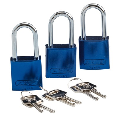 Brady 105903 - Standard Size Aluminum Padlocks - 6-Pin Cylinder - 1.5 in. Shackle Clearance - Keyed Alike - 3/Pack