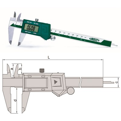 "Insize 1102-150 - Electronic Caliper - 0-6""/0-150mm Range - 0.01mm, 0.0005"", 1/128"" Resolution"