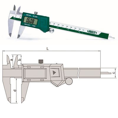 "Insize 1102-200 - Electronic Caliper - 0-8""/0-200mm Range - 0.01mm, 0.0005"", 1/128"" Resolution"