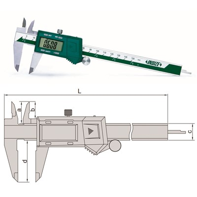 "Insize 1102-300 - Electronic Caliper - 0-12""/0-300mm Range - 0.01mm, 0.0005"", 1/128"" Resolution"
