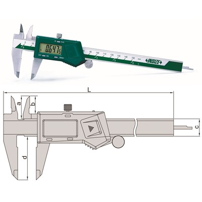 "Insize 1108-200 - Electronic Caliper - 0-8""/0-200mm Range - 0.0005""/0.01 mm Resolution"