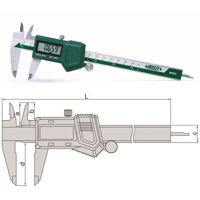 "Insize 1118-150B - Electronic Water-Proof Caliper - 0-6""/0-150mm Range"