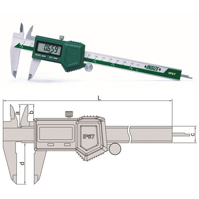 "Insize 1118-200B - Electronic Water-Proof Caliper - 0-8""/0-200mm Range"