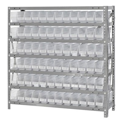 "Quantum Storage Systems 1239-100CL - Economy Series 4"" Clear-View Bin Shelving w/72 Bins - 12"" x 36"" x 39"" - Clear"