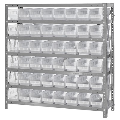 "Quantum Storage Systems 1239-101CL - Economy Series 4"" Clear-View Bin Shelving w/48 Bins - 12"" x 36"" x 39"" - Clear"