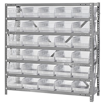 "Quantum Storage Systems 1239-102CL - Economy Series 4"" Clear-View Bin Shelving w/30 Bins - 12"" x 36"" x 39"" - Clear"