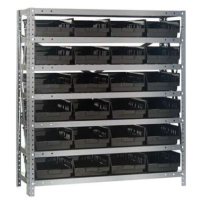 "Quantum Storage Systems 1239-107 BK - Economy Series 4"" Shelf Bin Steel Shelving w/24 Bins - 12"" x 36"" x 39"" - Black"
