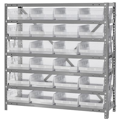 "Quantum Storage Systems 1239-107CL - Economy Series 4"" Clear-View Bin Shelving w/24 Bins - 12"" x 36"" x 39"" - Clear"