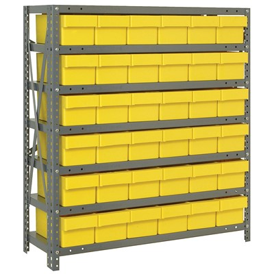 "Quantum Storage Systems 1239-601 YL - Super Tuff Euro Series Open Style Steel Shelving w/36 Bins - 12"" x 36"" x 39"" - Yellow"