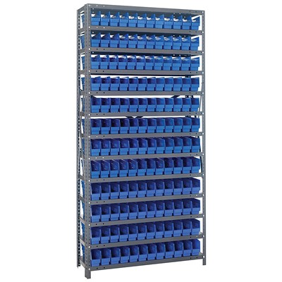 "Quantum Storage Systems 1275-100 BL - Economy Series 4"" Shelf Bin Steel Shelving w/144 Bins - 12"" x 36"" x 75"" - Blue"