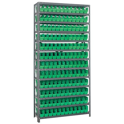 "Quantum Storage Systems 1275-100 GR - Economy Series 4"" Shelf Bin Steel Shelving w/144 Bins - 12"" x 36"" x 75"" - Green"
