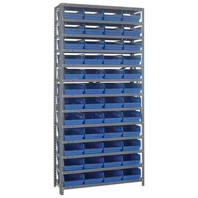 "Quantum Storage Systems 1275-107 BL - Economy Series 4"" Shelf Bin Steel Shelving w/36 Bins - 12"" x 36"" x 75"" - Blue"