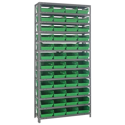 "Quantum Storage Systems 1275-107 GR - Economy Series 4"" Shelf Bin Steel Shelving w/36 Bins - 12"" x 36"" x 75"" - Green"