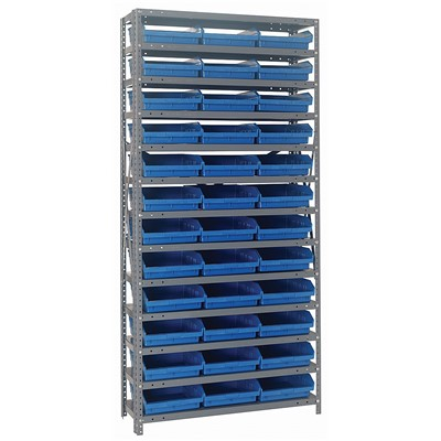 "Quantum Storage Systems 1275-109 BL - Economy Series 4"" Shelf Bin Steel Shelving w/48 Bins - 12"" x 36"" x 75"" - Blue"