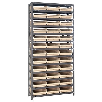 "Quantum Storage Systems 1275-109 IV - Economy Series 4"" Shelf Bin Steel Shelving w/48 Bins - 12"" x 36"" x 75"" - Ivory"