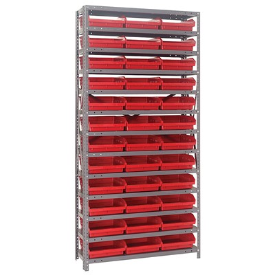 "Quantum Storage Systems 1275-109 RD - Economy Series 4"" Shelf Bin Steel Shelving w/48 Bins - 12"" x 36"" x 75"" - Red"