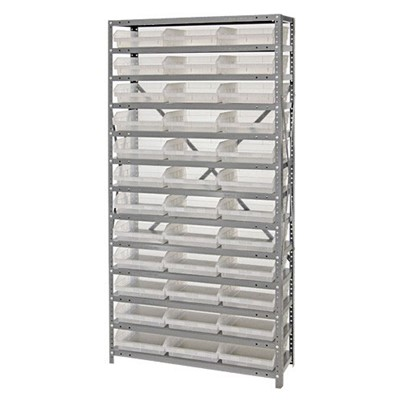 "Quantum Storage Systems 1275-109CL - Economy Series 4"" Clear-View Bin Shelving w/48 Bins - 12"" x 36"" x 75"" - Clear"