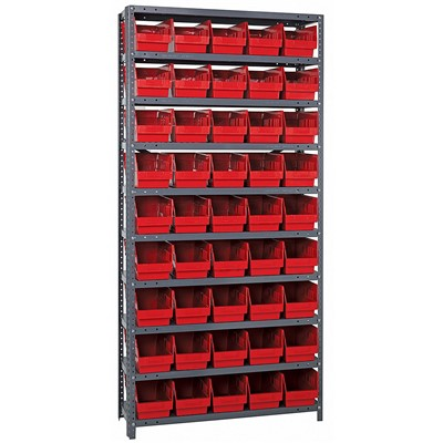 "Quantum Storage Systems 1275-202 RD - Store-More Series 6"" Shelf Bin Steel Shelving w/45 Bins - 12"" x 36"" x 75"" - Red"