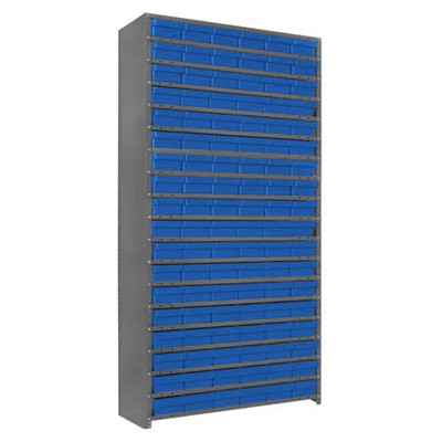 "Quantum Storage Systems 1275-401 BL - Super Tuff Euro Series Open Style Steel Shelving w/108 Bins - 12"" x 36"" x 75"" - Blue"