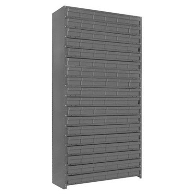"Quantum Storage Systems 1275-401 GY - Super Tuff Euro Series Open Style Steel Shelving w/108 Bins - 12"" x 36"" x 75"" - Gray"