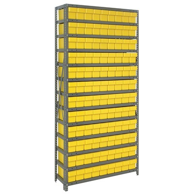 "Quantum Storage Systems 1275-501 YL - Super Tuff Euro Series Open Style Steel Shelving w/108 Bins - 12"" x 36"" x 75"" - Yellow"