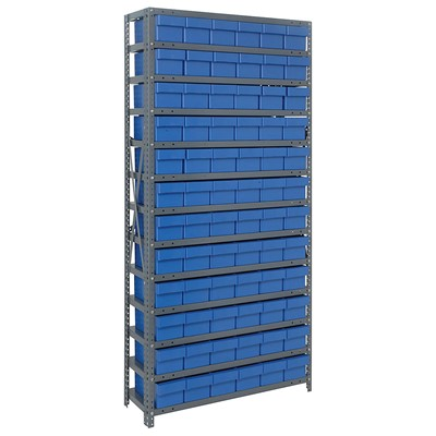 "Quantum Storage Systems 1275-601 BL - Super Tuff Euro Series Open Style Steel Shelving w/72 Bins - 12"" x 36"" x 75"" - Blue"