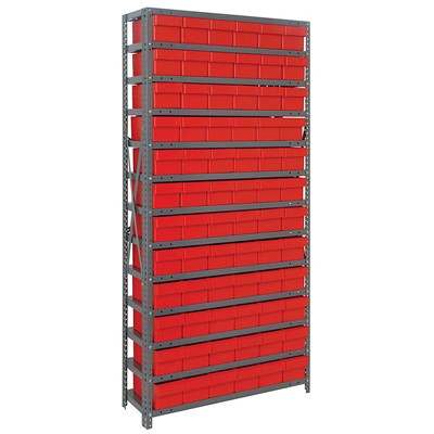 "Quantum Storage Systems 1275-601 RD - Super Tuff Euro Series Open Style Steel Shelving w/72 Bins - 12"" x 36"" x 75"" - Red"
