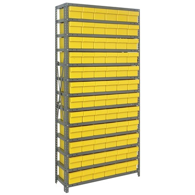 "Quantum Storage Systems 1275-601 YL - Super Tuff Euro Series Open Style Steel Shelving w/72 Bins - 12"" x 36"" x 75"" - Yellow"