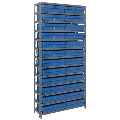 "Quantum Storage Systems 1275-701 BL - Super Tuff Euro Series Open Style Steel Shelving w/48 Bins - 12"" x 36"" x 75"" - Blue"