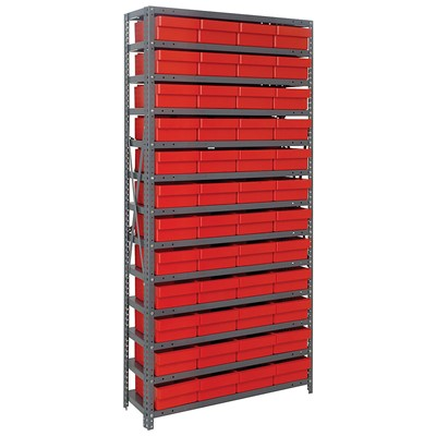"Quantum Storage Systems 1275-701 RD - Super Tuff Euro Series Open Style Steel Shelving w/48 Bins - 12"" x 36"" x 75"" - Red"
