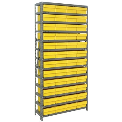 "Quantum Storage Systems 1275-701 YL - Super Tuff Euro Series Open Style Steel Shelving w/48 Bins - 12"" x 36"" x 75"" - Yellow"