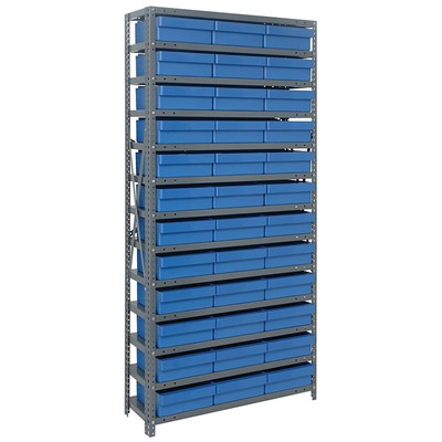 "Quantum Storage Systems 1275-801 BL - Super Tuff Euro Series Open Style Steel Shelving w/36 Bins - 12"" x 36"" x 75"" - Blue"