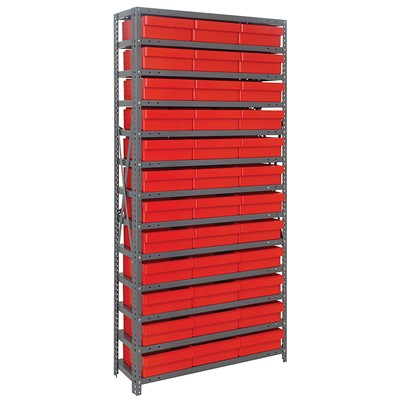 "Quantum Storage Systems 1275-801 RD - Super Tuff Euro Series Open Style Steel Shelving w/36 Bins - 12"" x 36"" x 75"" - Red"