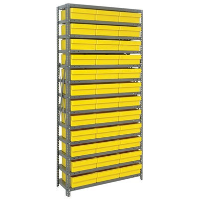 "Quantum Storage Systems 1275-801 YL - Super Tuff Euro Series Open Style Steel Shelving w/36 Bins - 12"" x 36"" x 75"" - Yellow"