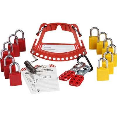 Brady 148864 - Safety Lock & Tag Carrier w/2 Sets of 6 KA Padlocks - Red/Yellow