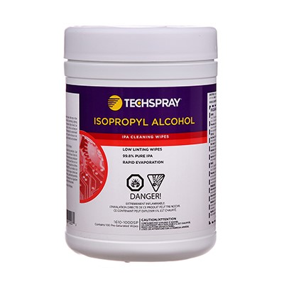 Techspray 1610-100DSP - Isopropyl Alcohol General Cleaning Wipes - 100 Wipes/Canister