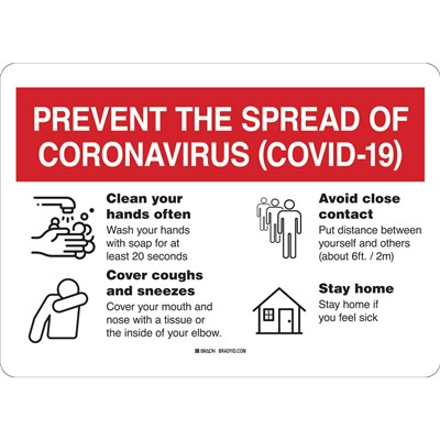 "Brady 170164 - Prevent The Spread Of Coronavirus (Covid- 19) Sign - Polyester - 7"" H x 10"" W - Red/White"